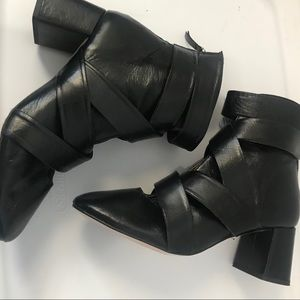 Zara High Heel Strappy Leather Boots. EU40/US9